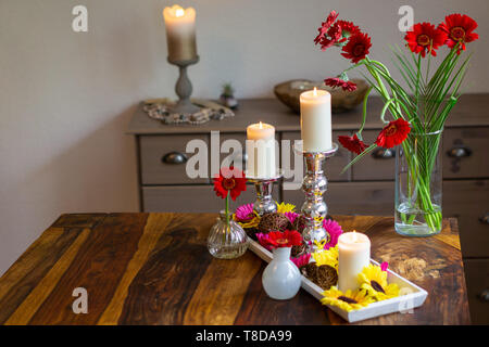 Decoration with candles on a table - Stock Photo
