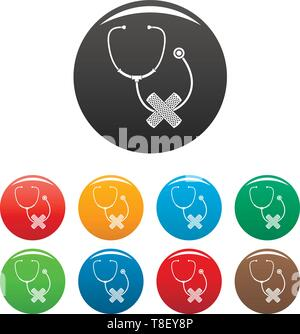 Stethoscope, cross bandage icons set 9 color vector isolated on white for any design - Stock Photo