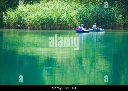 France, Ain, Culoz, Chautagne islands on the old Rhone, fisherman - Stock Photo