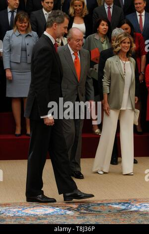 Madrid, Spain. 14th May, 2019. The Emeritus King Don Juan Carlos and King Felipe VI during the meeting with the Board of Trustees 'COTEC' in Madrid on May 14, 2019  Cordon Press Credit: CORDON PRESS/Alamy Live News - Stock Photo