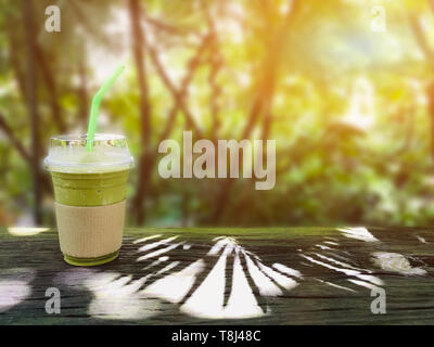 green tea frappe and blended. Sweety drink for relaxing in the garden - Stock Photo