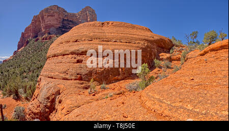 Courthouse Butte and Cathedral Rock viewed from the Judges Bench, Sedona, Arizona, United States - Stock Photo