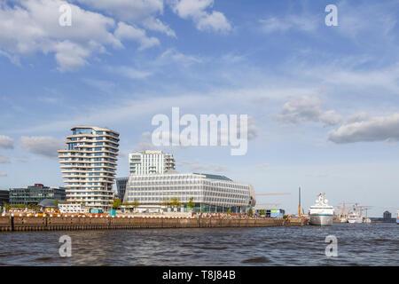 Hafencity, tower, Hamburg, Germany , Europe - Stock Photo