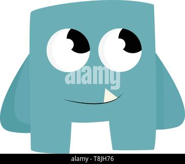 A blue baby monster with big eyes looking upward, with a tooth, vector, color drawing or illustration. - Stock Photo