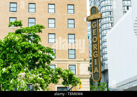 May 12, 2019 - Vancouver, Canada: Rosewood Hotel Georgia luxury accommodation building exterior at Georgia and Howe Streets. - Stock Photo