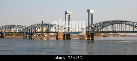 SAINT - PETERSBURG, RUSSIA – APRIL 26, 2019: Panoramic view of The Neva River and The Finland Railway Bridge - Stock Photo