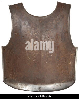 A cuirass M 1825 for enlisted men of the cuirassiers Heavy sheet iron cuirass with brass rivets and thick leather straps. Breastplate dated 'Klingenthal 1828, No. 1647'. Without lining. Good original condition. historic, historical, French Restauration, France, French, militaria, object, objects, stills, clipping, cut out, cut-out, cut-outs, 19th century, Additional-Rights-Clearance-Info-Not-Available - Stock Photo