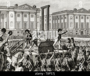 French Revolution. Execution of Louis XVI. 21 January 1793 the death of Louis Capet (Louis XVI) in the Place de la Revolution, Paris, engraving 1794 - Stock Photo