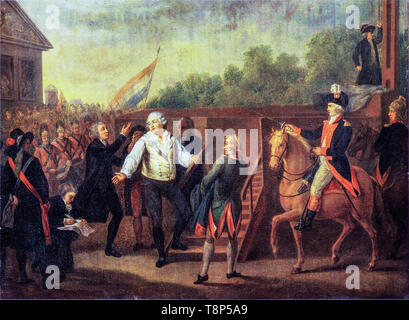 French Revolution, The Execution of Louis XVI. Louis XVI and Abbot Edgeworth de Firmont at the foot of the Guillotine scaffold, January 21, 1793, painting, Charles Benazech - Stock Photo
