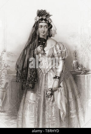 Hero.  Principal female character from Shakespeare's play Much Ado About Nothing.  From Shakespeare Gallery, published c.1840. - Stock Photo