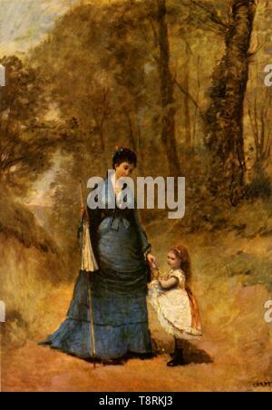 'Madame et Mademoiselle Stumpf', 1872, (1934).  Creator: Jean-Baptiste-Camille Corot. - Stock Photo