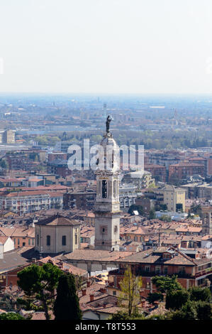 Detail of the beautiful city of Bergamo in Northern Italy seen from above - Stock Photo