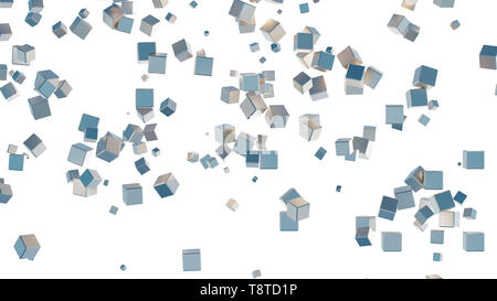 Several light blue cubes scattered on a white background - Stock Photo