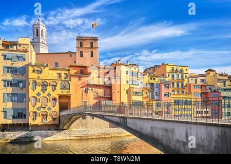 Girona colorful houses, Catalonia, Spain - Stock Photo