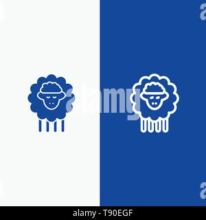 Mutton, Ram, Sheep, Spring Line and Glyph Solid icon Blue banner Line and Glyph Solid icon Blue banner - Stock Photo