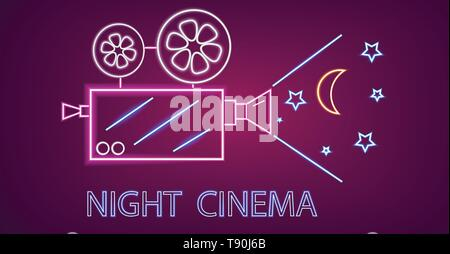 Cinema camera neon symbols Vector. Glowing sign dark background. Shinning billboard template - Stock Photo