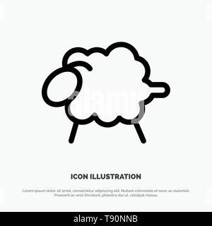 Lamb, Sheep, Wool, Easter Line Icon Vector - Stock Photo