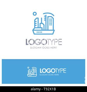 City, Colonization, Colony, Dome, Expansion Blue outLine Logo with place for tagline - Stock Photo