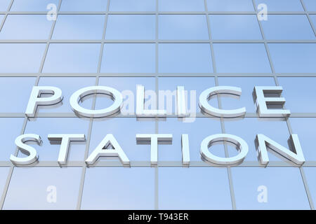3D illustration of a building with the script POLICE STATION - Stock Photo