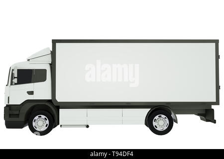 White delivery truck or transportation van isolated on white background. 3D rendering. - Stock Photo