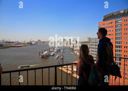 View from Elbphilharmonie over river Elbe und the nharbour, Hansestadt Hamburg, Germany, Europe - Stock Photo
