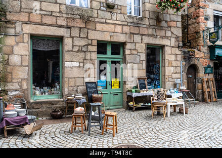 Paimpol, France - July 28, 2018: Antique store in the old town of Paimpol, Brittany - Stock Photo
