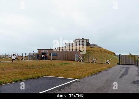 Plougonvelin, France - July 29, 2018: Outdoor view of World War II German bunker nowadays the Memory Museum - Stock Photo