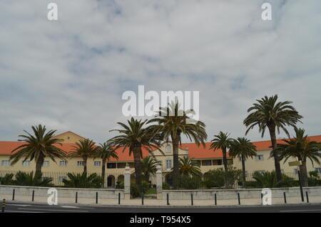 April 15, 2014. Estoril, Cascais, Sintra, Lisbon, Portugal. Facade Of The Salesian Building In Estoril. Travel, Nature, Landscape. - Stock Photo