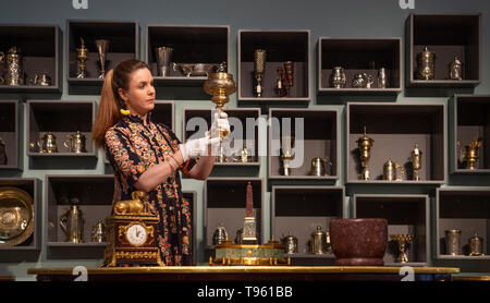 Christie's, London, UK. 17th May 2019. Christie's Spring edition of The Collector sales comprises an array of 17th, 18th and 19th century decorative arts and furniture including Silver (23 May sale). Credit: Malcolm Park/Alamy Live News. - Stock Photo