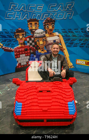 London, UK. 17th May, 2019. The opening day of the London Motor & Tech Show was attended by hundreds of car enthusiast's, with three large halls a Live Stage and thousands of cars for all tastes and ages. This Lego car was made using 30.000 pieces .Paul Quezada-Neiman/Alamy Live News Credit: Paul Quezada-Neiman/Alamy Live News - Stock Photo