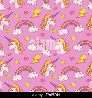 Dreamy pattern with unicorns and rainbows. Cute seamless background in pastel colors. Vector illustration. - Stock Photo
