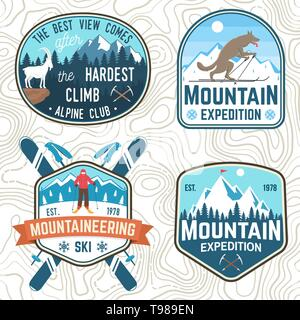 Set of mountain expedition and snowboard club patches. Vector. Concept for shirt or badge, print, stamp. Vintage typography design with mountaineers and mountain silhouette. Outdoors adventure emblems - Stock Photo