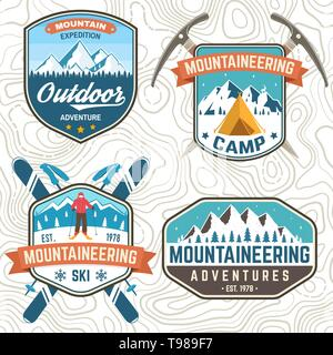 Set of mountain expedition patch. Vector. Concept for alpine club shirt or badge, print, stamp or tee. Vintage typography design with mountaineers and mountain silhouette. Outdoors adventure emblems. - Stock Photo
