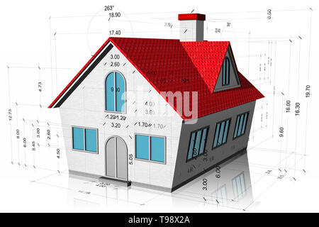 3D illustration. House with measurements, construction project isolated on white background. - Stock Photo