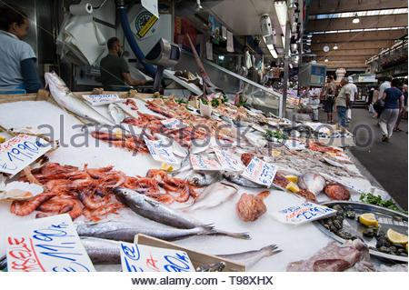 fish counter, mercato orientale in genoa - Stock Photo