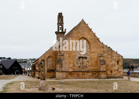Camaret-sur-Mer, France - August 4, 2018: Outdoor view of the Chapel of Notre-Dame-de-Rocamadour in the port - Stock Photo