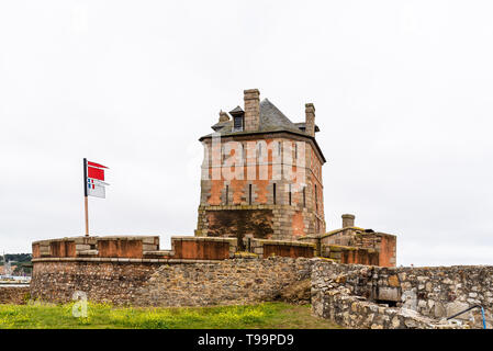 Camaret-sur-Mer, France - August 4, 2018: The Vauban Tower on the harbour, Finistere, Brittany - Stock Photo