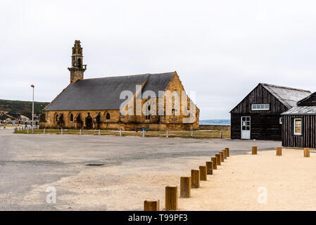 Camaret-sur-Mer, France - August 4, 2018: Outdoor view of the Chapel of Notre-Dame-de-Rocamadour in the port - Stock Photo