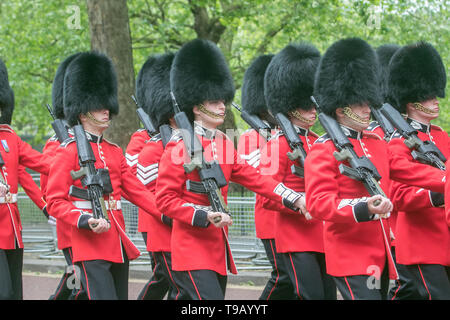 London, UK. 17th May, 2019. Members of Her Majesty's Foot Guards from the Household Division  take part in Trooping the Colour rehearsal at Horse Guards Parade for the Official Queen's Birthday celebrations Credit: amer ghazzal/Alamy Live News - Stock Photo