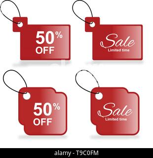 Sale Price Tag Vector Set Red Tags template with sale and discount text - Illustration - Stock Photo