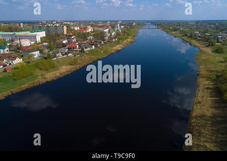The Western Dvina River in Polotsk on a sunny April day (aerial photography). Belorussia - Stock Photo