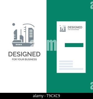 City, Colonization, Colony, Dome, Expansion Grey Logo Design and Business Card Template - Stock Photo