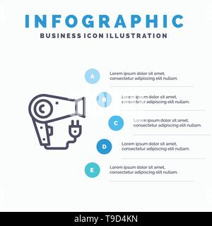 Dryer, Hair, Hairdryer, Plug Blue Infographics Template 5 Steps. Vector Line Icon template - Stock Photo