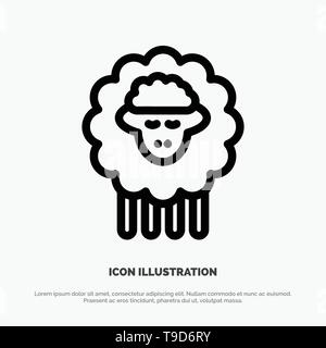 Mutton, Ram, Sheep, Spring Line Icon Vector - Stock Photo