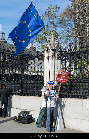 LONDON, UNITED KINGDOM - May 15, 2019: Anti Brexit protester outside the UK Parliament Building in London. - Stock Photo