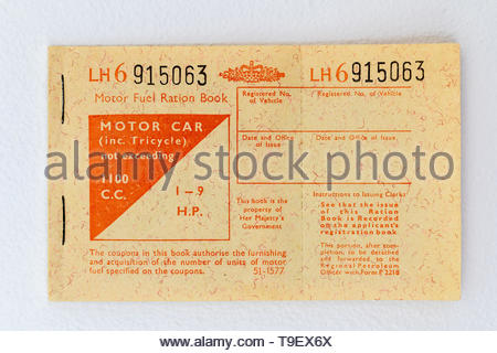 1973 Motor Fuel Ration book. Issued by the UK Government in response to the oil crisis caused by production restrictions duing the Yom Kippur Arab/Isr - Stock Photo