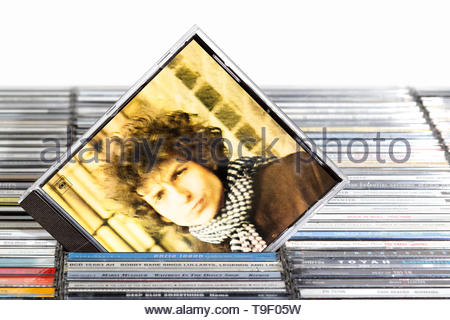 Bob Dylan 1966 album Blonde on Blonde, piled music CD cases, England. - Stock Photo
