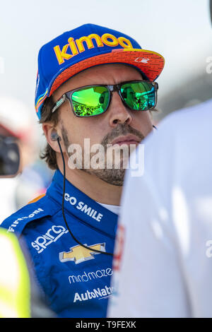 Indianapolis, Indiana, USA. 18th May, 2019. FERNANDO ALONSO (66) of Spain prepares to qualify for the Indianapolis 500 at Indianapolis Motor Speedway in Indianapolis, Indiana. (Credit Image: © Walter G Arce Sr Asp Inc/ASP) - Stock Photo
