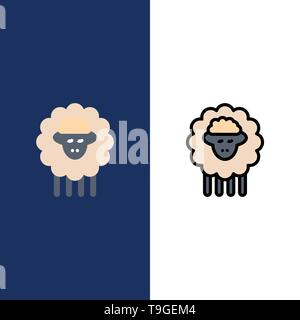 Mutton, Ram, Sheep, Spring  Icons. Flat and Line Filled Icon Set Vector Blue Background - Stock Photo