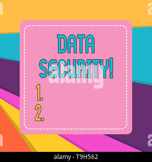 Word writing text Data Security. Business photo showcasing the process of protecting data from unauthorized access - Stock Photo